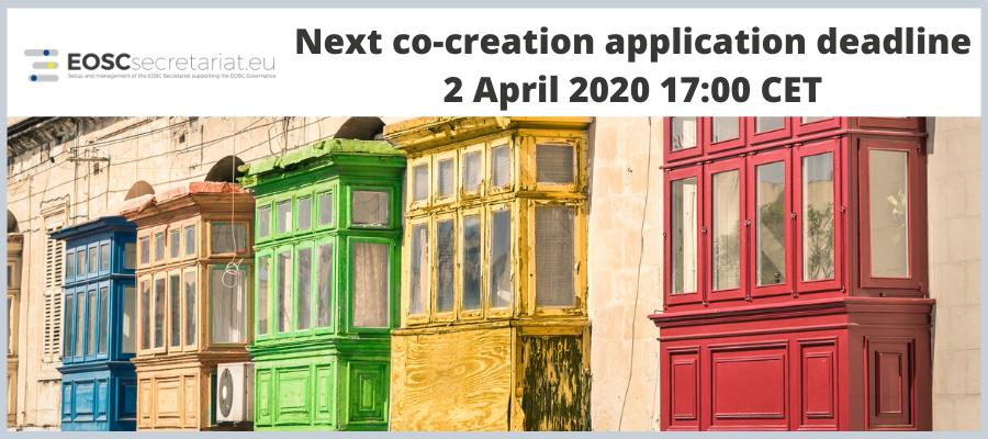 Next EOSC co-creation application deadline on 2 April 2020