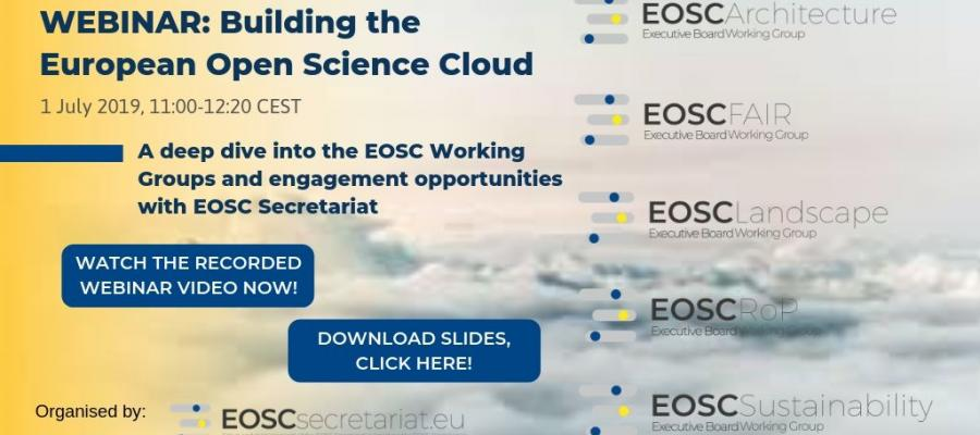 "1st EOSC Secretariat Webinar: ""Building the European Open Science Cloud"""